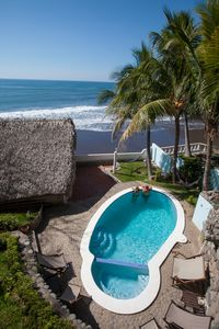 Casita to the left, Pool to the right, Ocean/private beach right in front.