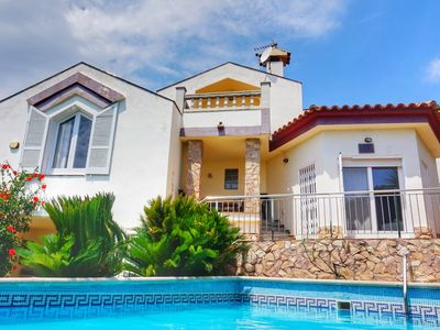Photo for Villa Costa Brava, sea views, 1 km from the beach, private pool, WIFI,BBQ