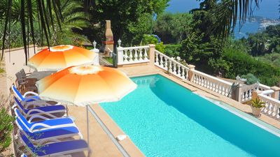 Photo for Great apartment in villa with pool Terrace Sea view Villefranche sr sea