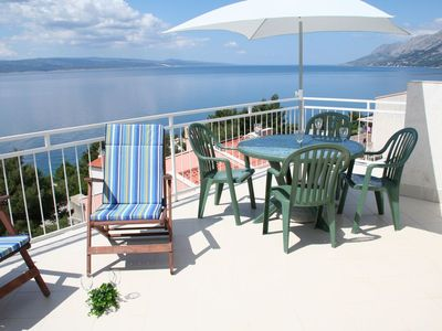 Photo for Stunning sea views from large sunbathing and dining terraces, 150m to beach