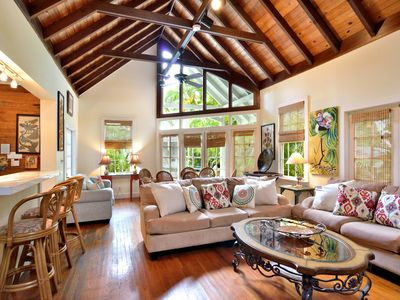 Living Room in Main House has Cathedral Ceilings