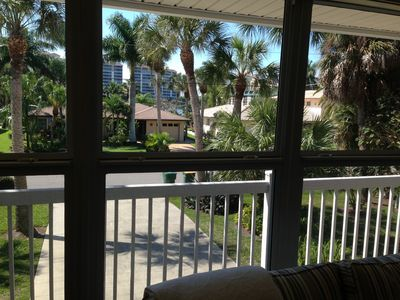 View out the front window from the living room.