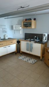 Kitchen with Microwave, Coffee maker, electric kettle, toaster oven