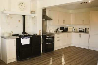 The AGA has been replaced with a professtional range cooker