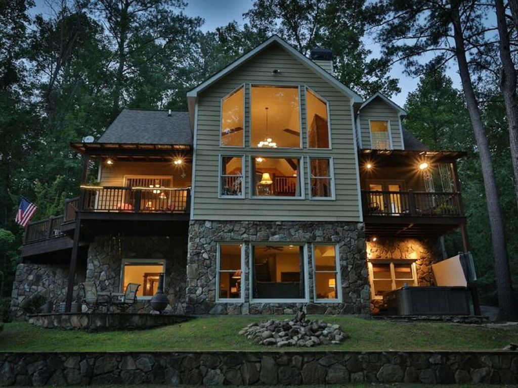 ultra luxury cabin on river in river resort with amenities On cabin resorts in ga