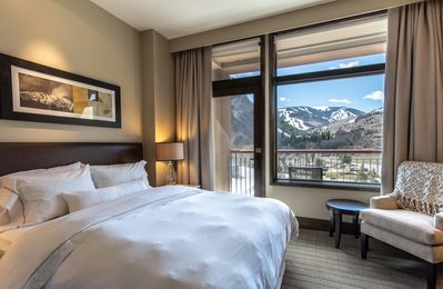 Master with private balcony overlooking pool and Beaver Creek Mountain!