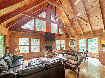 Photo for Lazy Bear Lodge, Fun-Packed 3BR Cabin – Hot Tub, Game Room