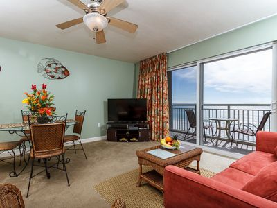 Near the corner unit, 402 is PEACEFUL & UPSCALE-can't get better - Direct beachfront view of the gulf from the balcony of this unit. Simply enjoy the beautiful sunset each night of your vacation!