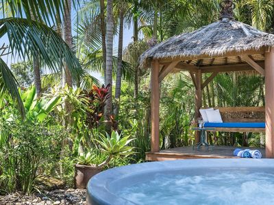 Photo for 2 bedrooms / 2 bathrooms. Private outdoor hot tub in tropical garden.