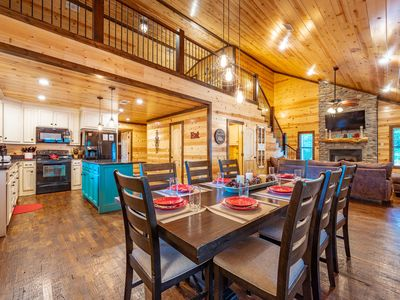 Photo for Whiskey Rocks Cabin - Rustic luxury, sleeps 10, hot tub, fire pit, boat parking