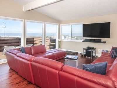 Photo for Panoramic Ocean Views, Easy Beach Access and Pool Time in this Waldport Home!