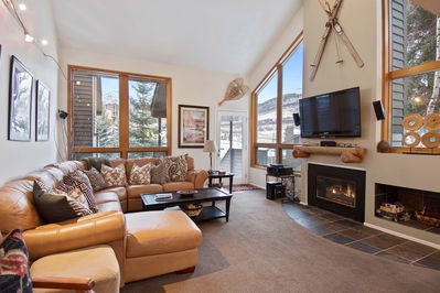 Cozy living area with mountain resort views