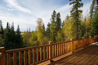 Wrap around deck with lovely view of Wolf Lake.