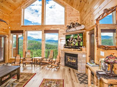 Upstairs living area with amazing mountain views.