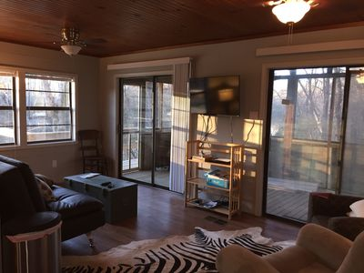 Living room with lots of windows