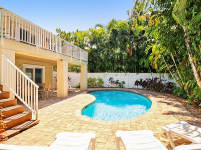 Photo for Dog-friendly house w/ private lagoon pool - two blocks from the beach!
