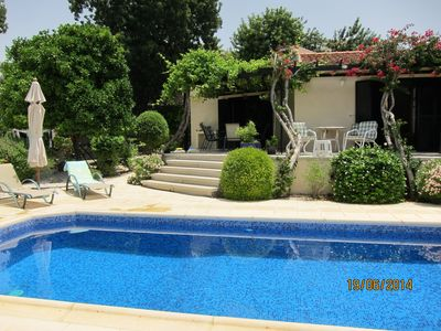view of the villa over the pool