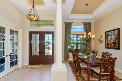 The formal dining room is located next to the front entrance