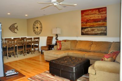 spacious open concept living and dining on 1st floor.