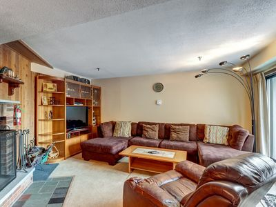 Photo for NEW LISTING! Bright condo with shared pool, hot tub, sauna, gym - walk to lifts!