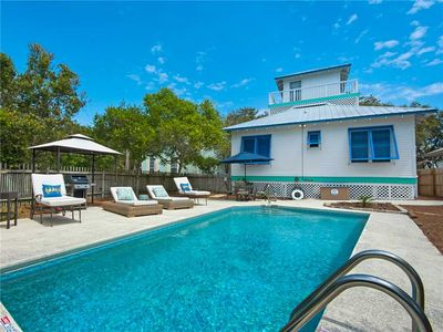 Photo for Stay steps to the beach on a quiet street! Private pool and large yard!
