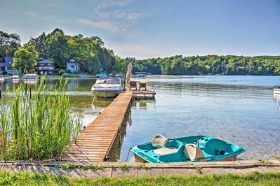 Utilize the provided canoe, paddle boards, kayaks and pedal boat for ultimate lake fun.