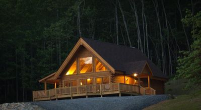 Meadow View Cabin at dusk