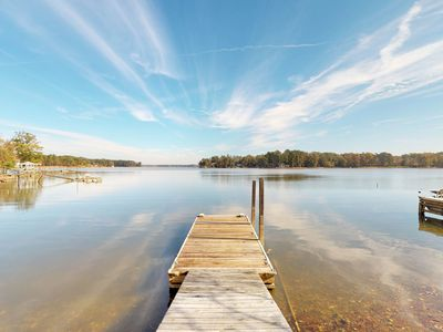 Photo for NEW LISTING! Lakefront home with shared dock, gazebo, and patio! Dogs OK!