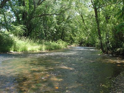 Photo for Riverfront Cabin, Hot Tub, Pool, Fishing on 2000 ft of private Trout stream