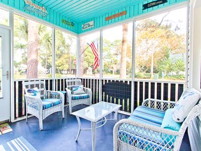 Photo for Pet Friendly Cottage with Cozy Screened Porch and Fenced Yard and Only 3 Blocks to the Beach