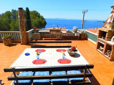 Photo for House with sea view at 250 m. from Canyelles beach, Roses, Costa Brava