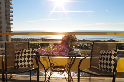 Enjoy cocktails on the beautiful Oceanfront Balcony!