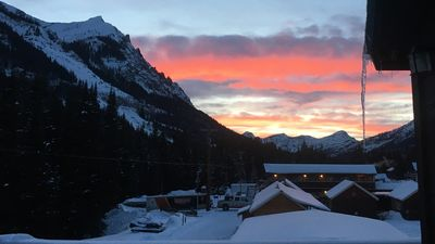 Spectacular sunsets from the deck, with views of Barronette Peak in Yellowstone.
