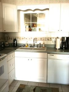 Fully stocked kitchen with dishwasher, coffee maker, blender, etc
