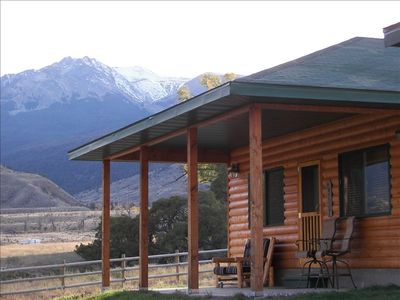 Covered front deck overlooking Yellowstone River