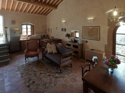 Photo for Apartment in a Tuscan farmhouse close to Volterra sleeps 4