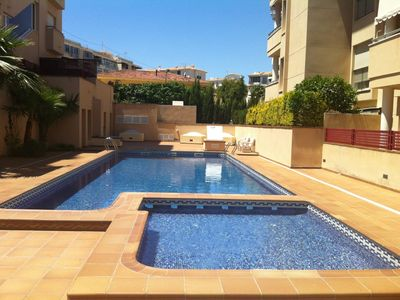 Photo for 3 Bedrooms Large apartment ,beach at 250m, swimming pool WIFI internet, UK TV.
