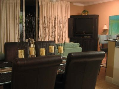 "Living/Dining area with view & Ent center w/42"" Samsung HDTV &DVD's"