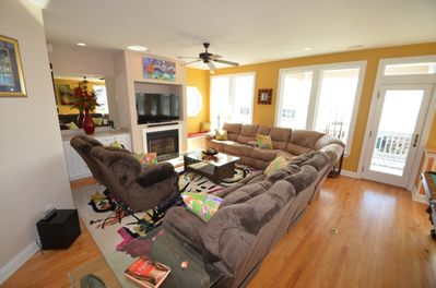 Cozy living room with full size recliners and window seat