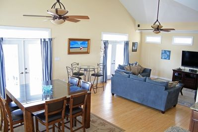 Great Room with 2 ceiling fans and access to Ocean View Decks!