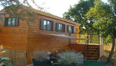 Photo for Unusual accommodation, wooden caravan, comfortable, warm with private spa