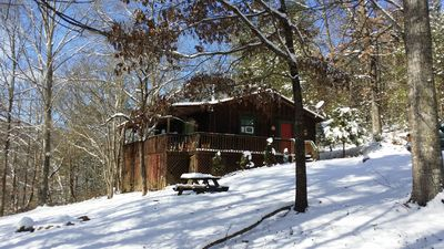 Photo for Cozy PRIVATE Cabin on 2+ Acres ! Sleeps 4, HT, FP, EASY access, NO Steep Roads!