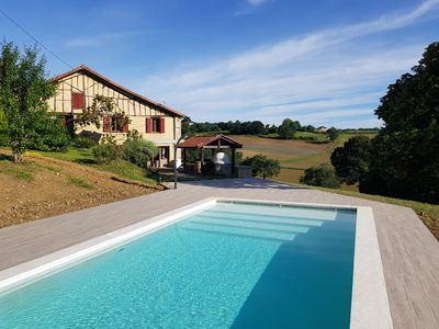 Photo for Beautiful 18th C Basque farmhouse with private heated pool and lovely views.