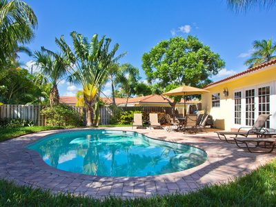 Photo for WALK TO THE BEACH. Private backyard w/ heated pool
