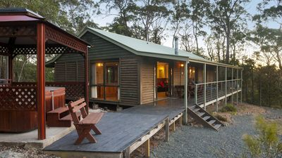 Photo for Romantic log cabin or Family Cabin. 2 bedroom. Spa & spa bath. Great views.