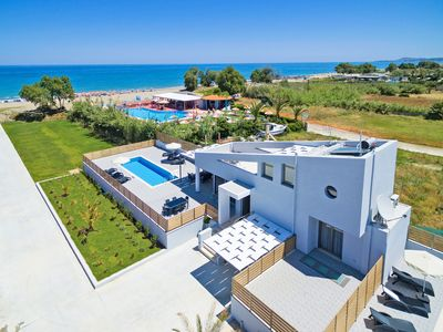 Photo for New beachfront villa in Crete next to amenities, No car needed Blue Oyster 1