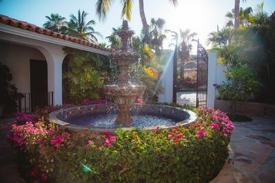 The bougainvillas welcome you at the entrance to the villa.