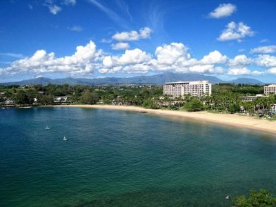 From your Suite & lanai, a view of the beach at Kalapaki Bay & mountains
