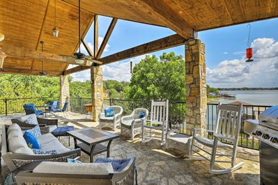 The 3-bedroom, 2.5-bath house has a private dock, yard, covered porch and more.