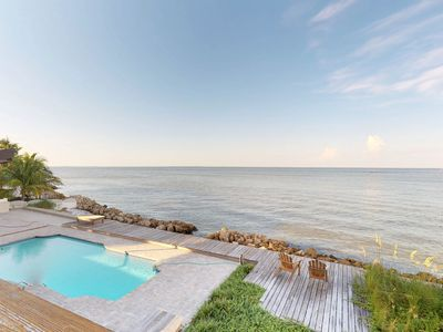 Photo for Gorgeous bayfront house w/ ocean views, private pool - beach nearby!